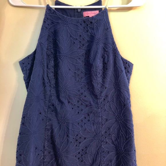 Lilly Pulitzer Tops - Lilly Pulitzer Navy Floral Eyelet Tank